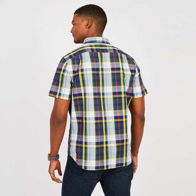 Plaid Short Sleeve Classic Fit Shirt,Green Glow,large