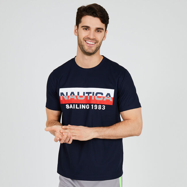 4df01e277 Performance Graphic Crewneck T-Shirt,Navy,large ...