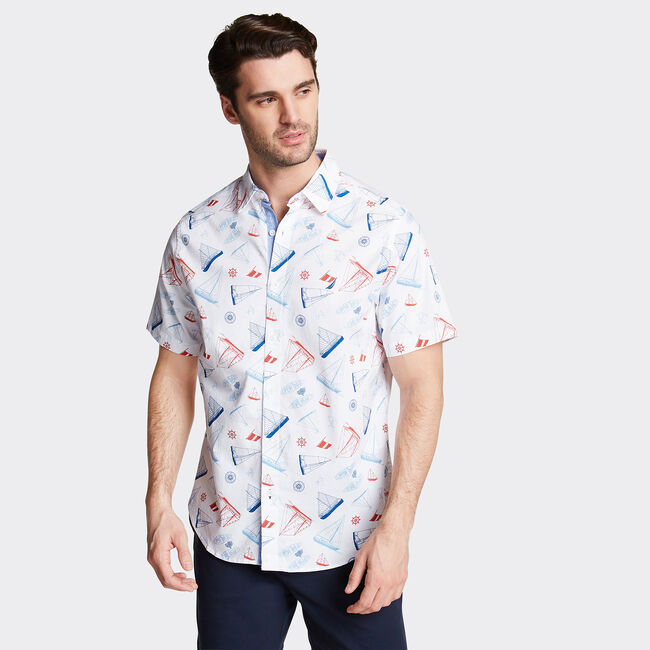 CLASSIC FIT SHORT SLEEVE POPLIN SHIRT IN FISH PRINT,Bright White,large