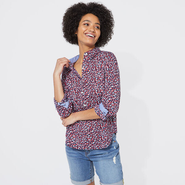 FLORAL PRINT BUTTON-UP SHIRT - Stellar Blue Heather