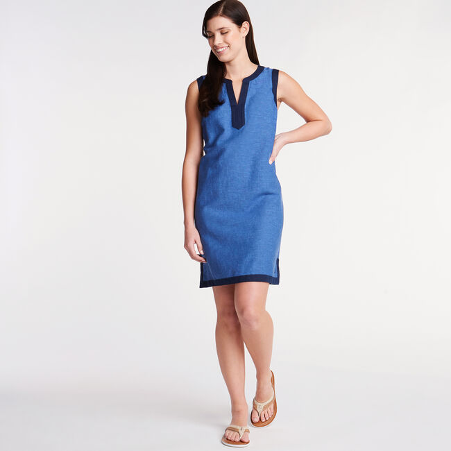 Sleeveless Chambray A-Line Dress,Estate Blue,large
