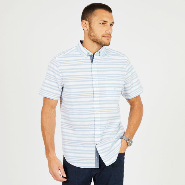 Classic Fit Short Sleeve Striped Button Down ,Bright White,large