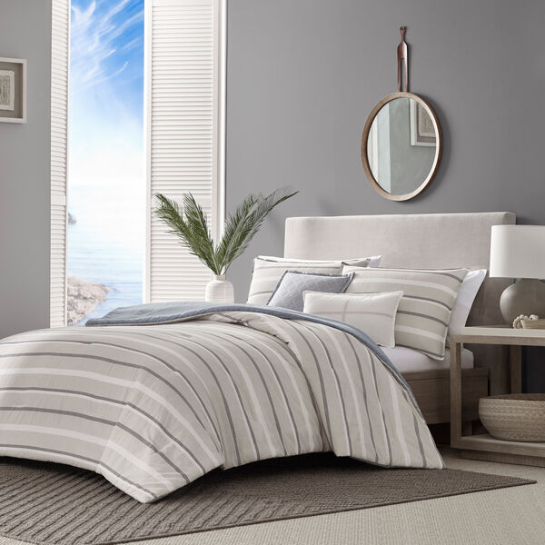 REVERSIBLE TEXTURED STRIPED KING COMFORTER-SHAM BONUS SET - Multi