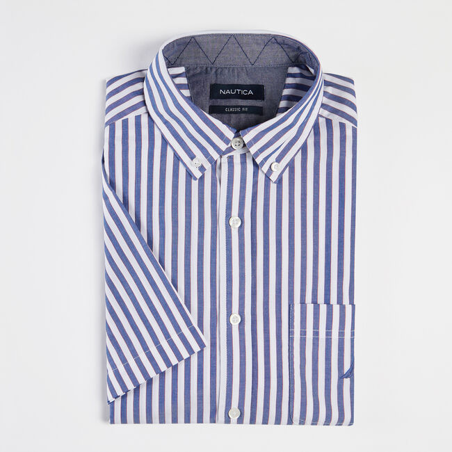 CLASSIC FIT SHORT SLEEVE SHIRT IN CLASSIC STRIPE,Limoges,large