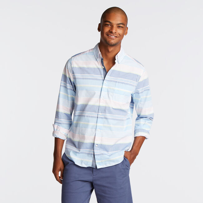CLASSIC FIT SHIRT IN MIXED STRIPE,Alaskan Blue,large