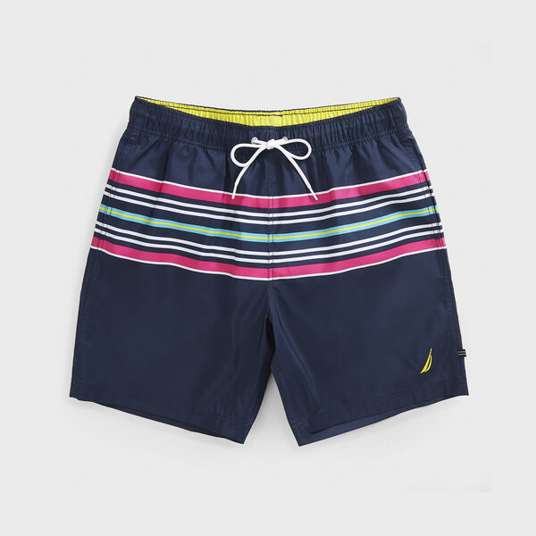 "8"" PERFORMANCE STRIPE SWIM - Navy"