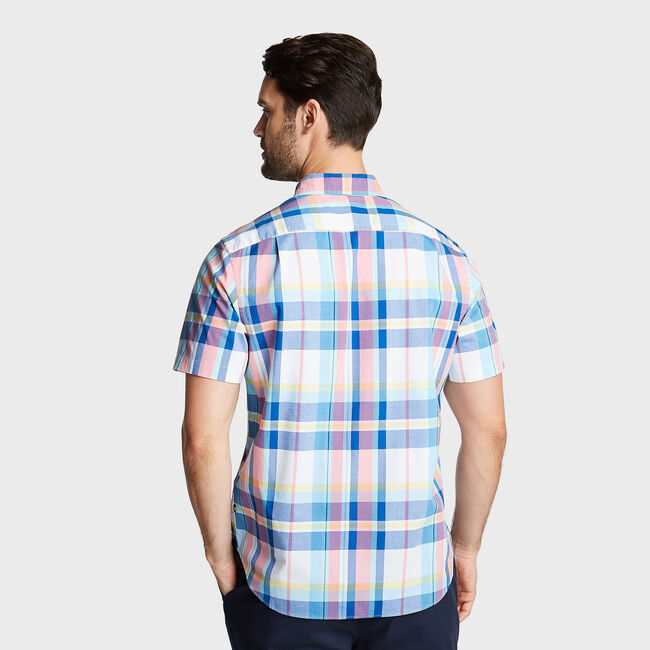 CLASSIC FIT SHORT SLEEVE OXFORD SHIRT IN PLAID,Bright White,large