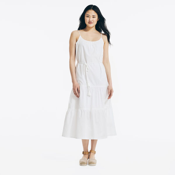 EMBROIDERED TIERED DRESS - Bright White