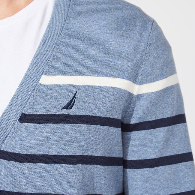 CLASSIC FIT STRIPED CARDIGAN,Anchor Blue Heather,large
