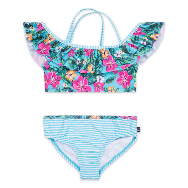 Girls' Ruffle Two-Piece Swimsuit in Floral Print - Bait Cast Blue