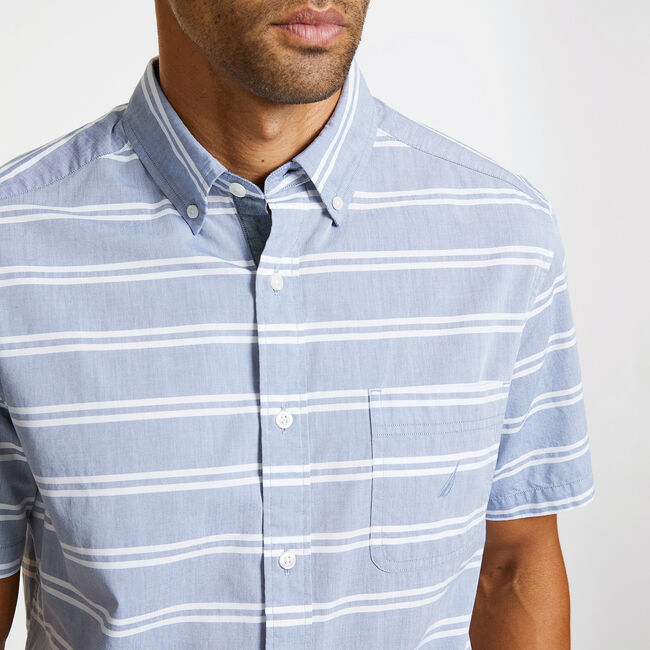 Short Sleeve Classic Fit Striped Shirt,Monaco Blue,large