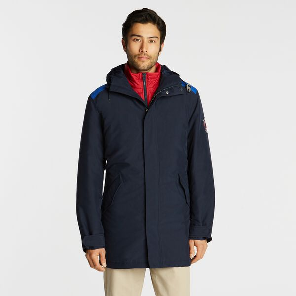 WATER-RESISTANT CONVERTIBLE HOODED JACKET - Navy