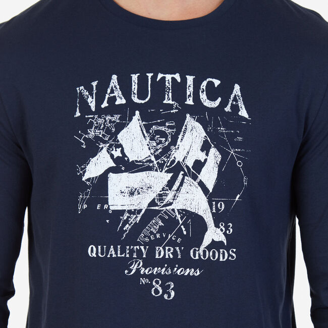 Quality Dry Goods Graphic Long Sleeve T-Shirt,True Navy,large