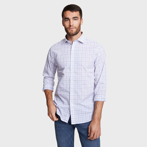IRON FREE CLASSIC FIT SHIRT IN AMETHYST TATTERSALL - Raisin