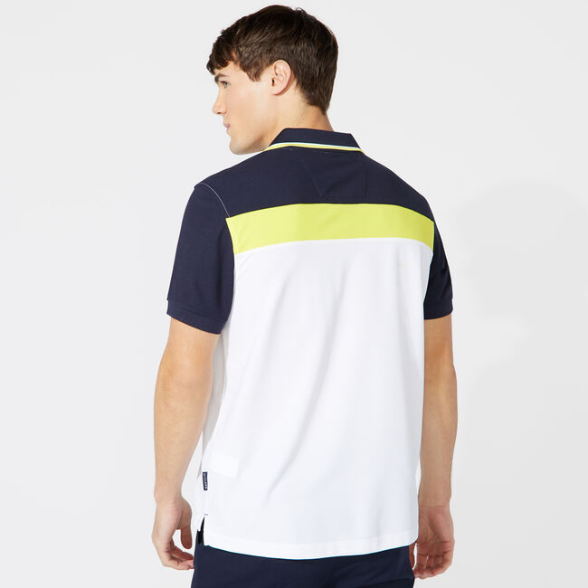 CLASSIC FIT COLORBLOCK TIPPED POLO,Bright White,large