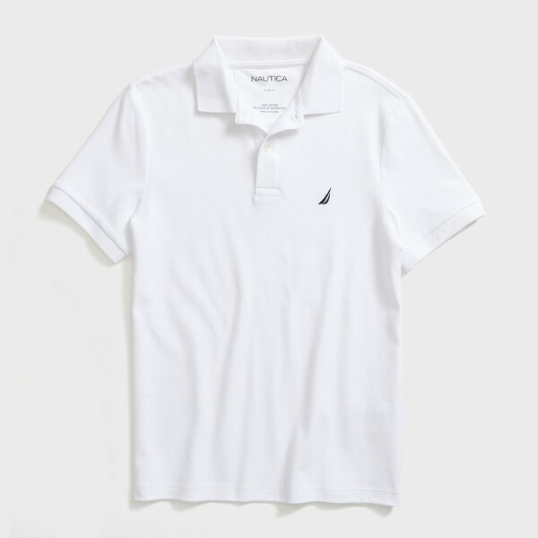 SLIM FIT INTERLOCK POLO - Bright White