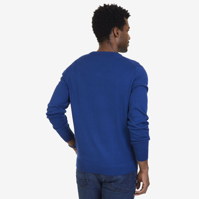 Big & Tall V-Neck Pullover Sweater,Estate Blue,large