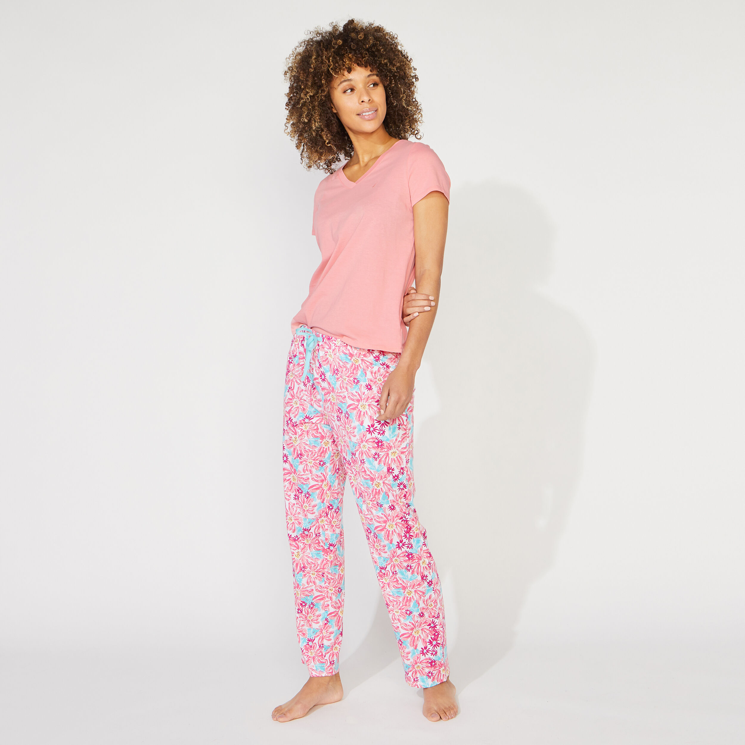 Nautica Womens Short Sleeve Pajama Set In Multi Fish Print