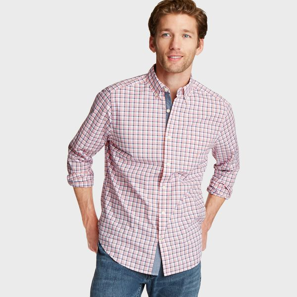 Big & Tall Plaid Classic Fit Shirt - Coral Sands