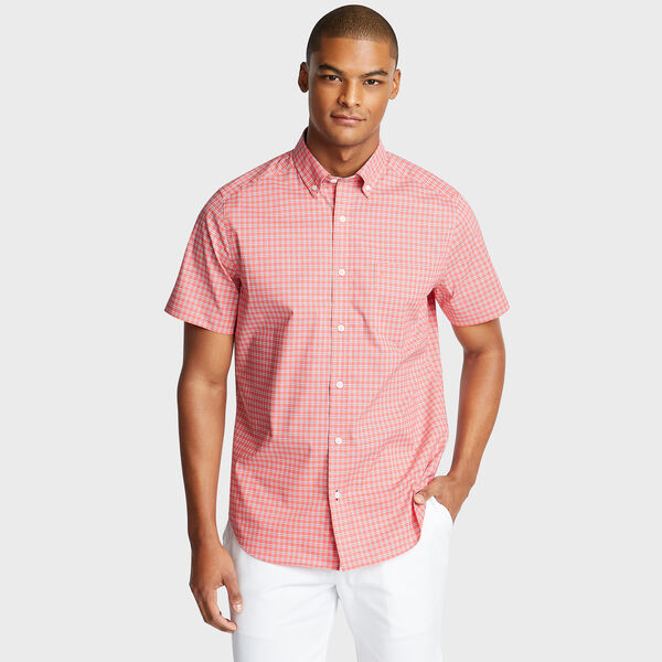 Wrinkle-Resistant Short Sleeve Classic Fit Shirt in Plaid - Spiced Coral
