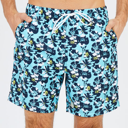 Big & Tall Abstract Poppy Swim Trunks - Sapphire