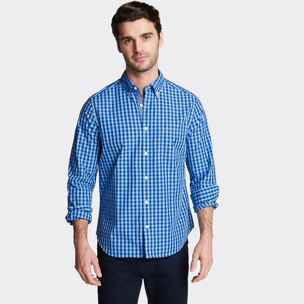 CLASSIC FIT POPLIN SHIRT IN GINGHAM - Alaskan Blue