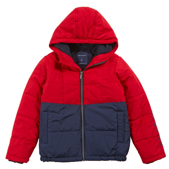 Toddler Boys' Colorblock Bubble Jacket (2T-3T),Dark Acacia,large