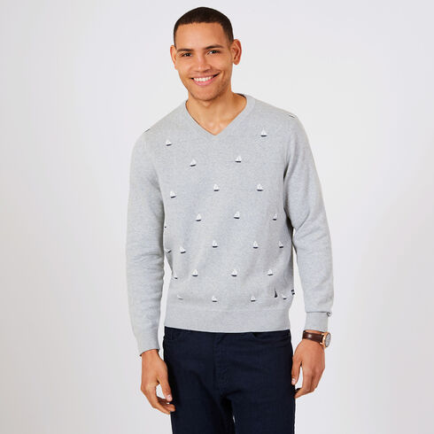 V-Neck Sailboat Motif Sweater - Grey Heather