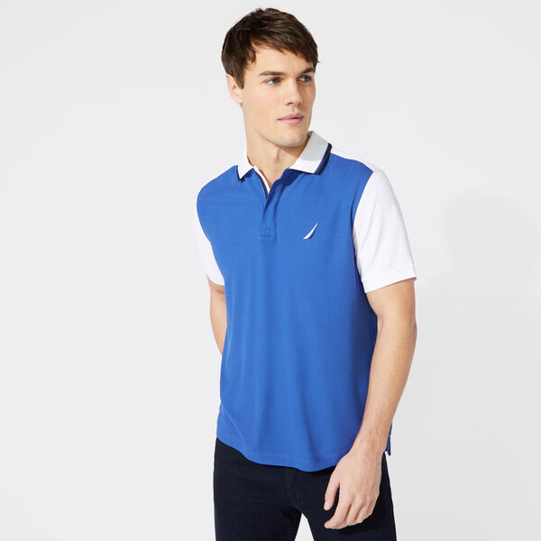 CLASSIC FIT COLORBLOCK TIPPED POLO - Windsurf Blue