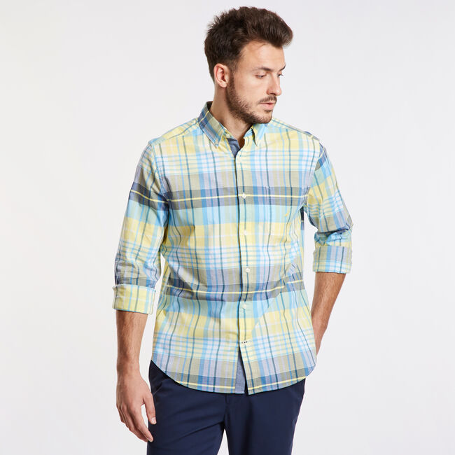 Classic Fit Long Sleeve Shirt in Casual Plaid,Sunshine,large