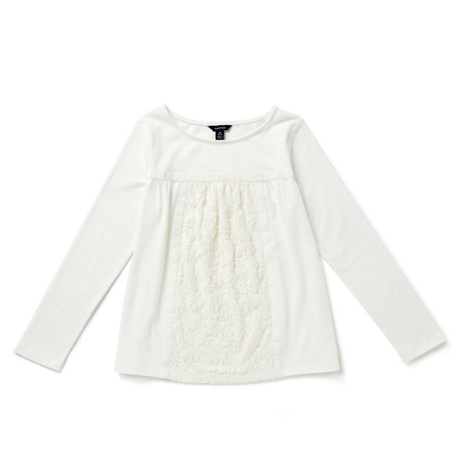 Girls' Lace Swing Top (8-16),Bright White,large