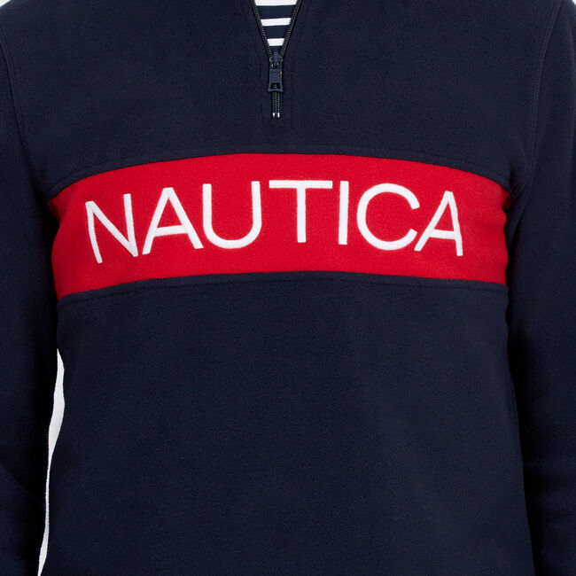 Chest Logo Nautex Quarter-Zip Active Pullover,Navy,large