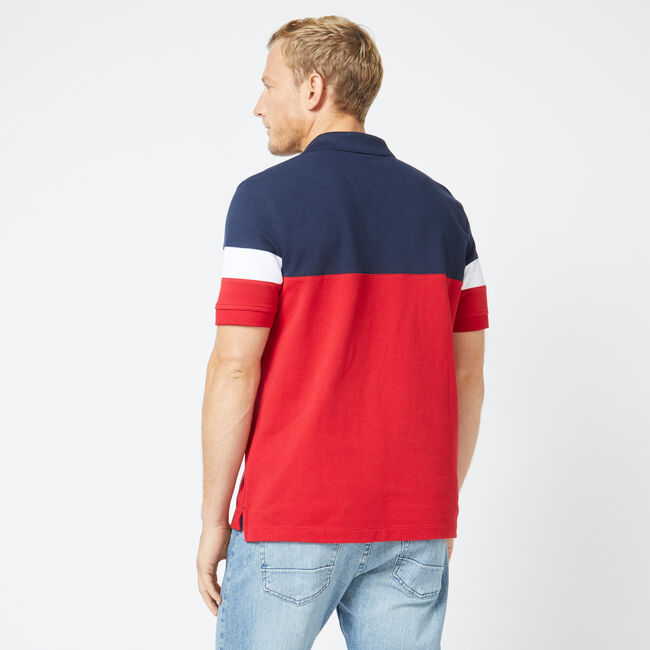 CLASSIC FIT KNIT COLORBLOCK POLO,Nautica Red,large