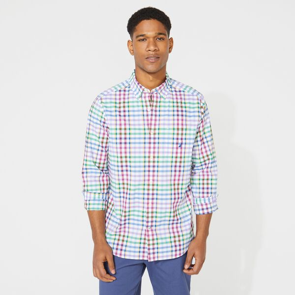 CLASSIC FIT PLAID POPLIN SHIRT - Bright White