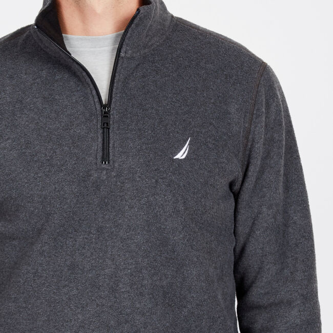 Basic Quarter-Zip Nautex Pullover,Charcoal Heather,large