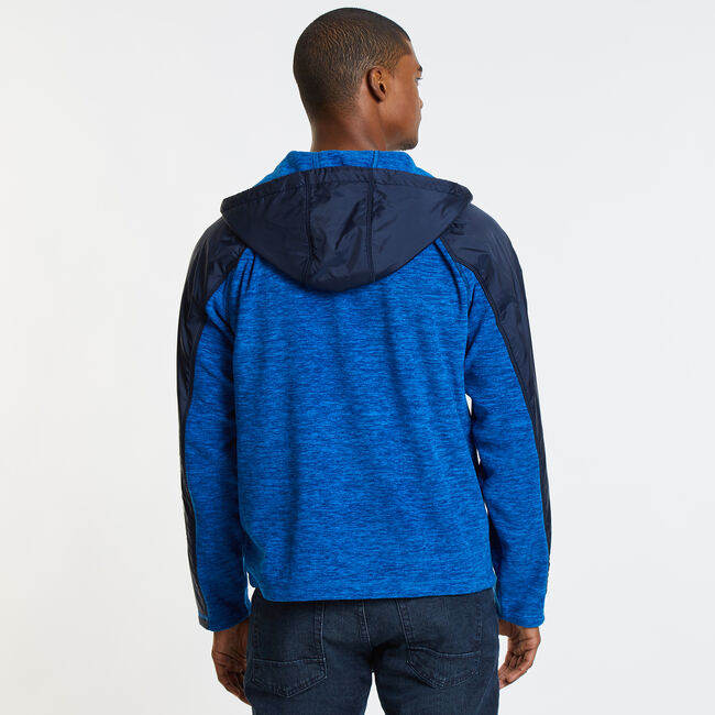 Colorblock Logo Full-Zip Nautex Hoodie,Capri Blue,large