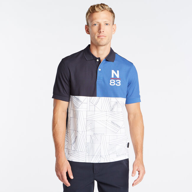 CLASSIC FIT PIECED N-83 PERFORMANCE POLO,Navy,large