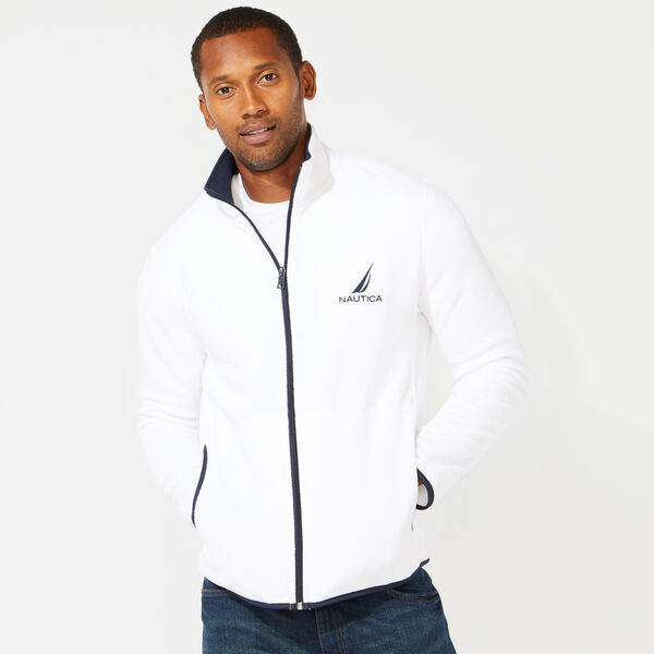 FULL ZIP NAUTEX FLEECE JACKET - Bright White