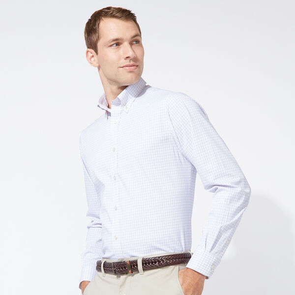 CLASSIC FIT PERFORMANCE TECH SHIRT IN PURPLE CHECK - Oatmeal Heather
