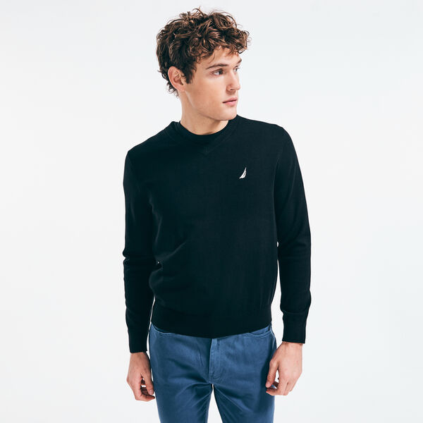 NAVTECH V-NECK SWEATER - True Black