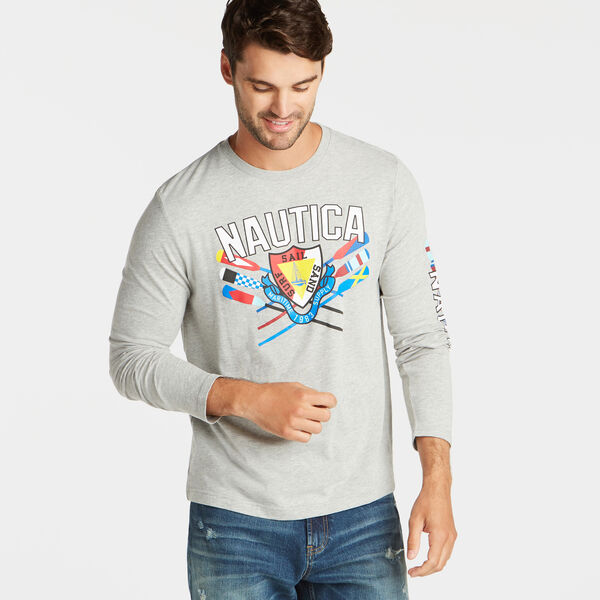 SURF SAIL SAND LONG SLEEVE GRAPHIC TEE - Grey Heather