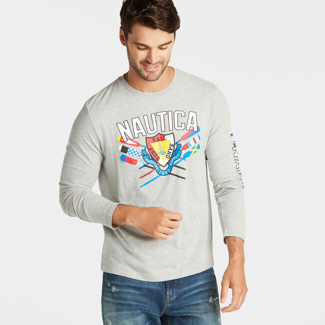 SURF SAIL SAND GRAPHIC LONG SLEEVE T-SHIRT,Grey Heather,large
