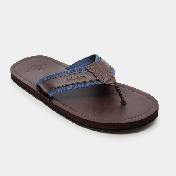 LOGO EMBOSSED THONG SANDALS - Brown Stone