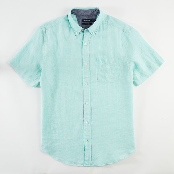 CLASSIC FIT SHORT SLEEVE LINEN SHIRT - Coastal Green