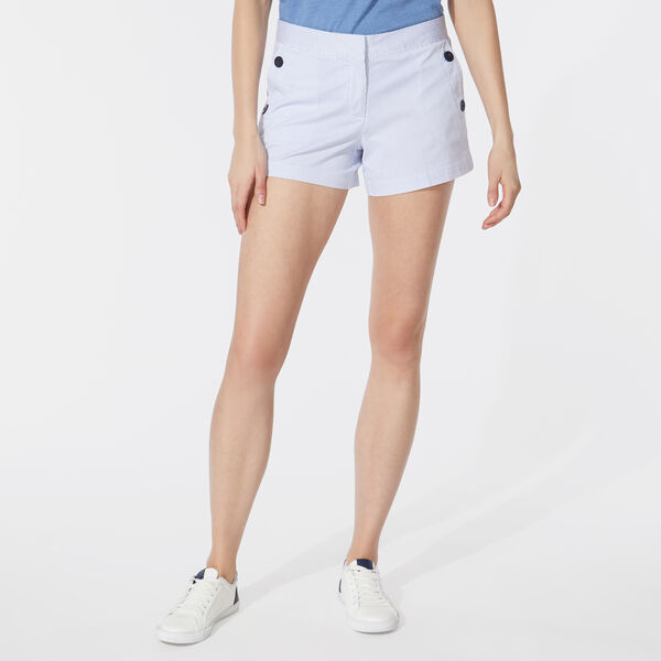"4"" STRIPED STRETCH TWILL SAILOR SHORTS - Bright White"