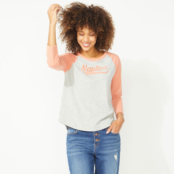 NAUTICA JEANS CO. THREE-QUARTER SLEEVE BASEBALL TEE - Fog