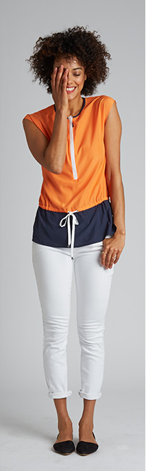 The Sleeveless Top - Shop the Color Block Zip Top